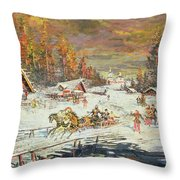 The Russian Winter Throw Pillow by Konstantin Korovin