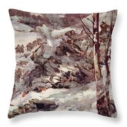 The Russians Fighting Their Way Over The Carpathians Throw Pillow by Cyrus Cuneo
