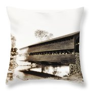 The Sachs Covered Bridge Near Gettysburg In Sepia Throw Pillow by Bill Cannon
