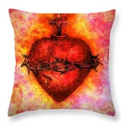 The Sacred Heart Of Jesus Christ Throw Pillow by Annie Zeno
