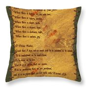 The Saint Francis Prayer Throw Pillow by Philip Ralley