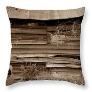 The Sepia Guitar Throw Pillow by Skip Willits