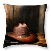 The Sheriff Office Throw Pillow by Olivier Le Queinec