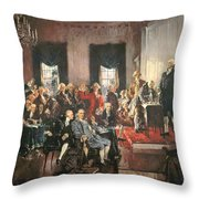The Signing of the Constitution of the United States in 1787 Throw Pillow by Howard Chandler Christy