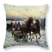 The Sleigh Ride Throw Pillow by Alfred von Wierusz Kowalski