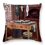 The Soft Clock Shop Throw Pillow by Mike McGlothlen