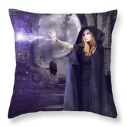 The Spell Is Cast Throw Pillow by Linda Lees