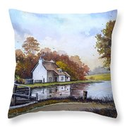 The Staffordshire And Worcestershire Canal Throw Pillow by Andrew Read