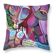 The Stallion And Ghost Goddess Throw Pillow by Sandra Silberzweig