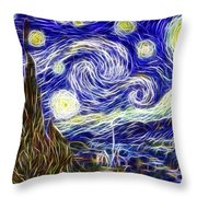 The Starry Night Reimagined Throw Pillow by Adam Romanowicz