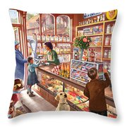 The Sweetshop Throw Pillow by Steve Crisp