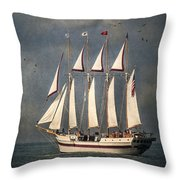 The Tall Ship Windy Throw Pillow by Dale Kincaid