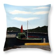 The Tekakwitha - Black Schooner Throw Pillow by Barbara Griffin