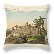 The Temple Of Buddha Of Borobudur In Java Throw Pillow by Splendid Art Prints