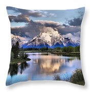 The Tetons From Oxbow Bend Throw Pillow by Dan Sproul