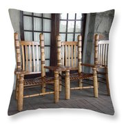 The Three Chairs Throw Pillow by Denyse Duhaime