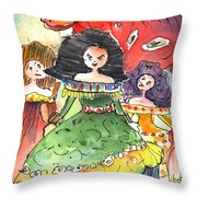 The Three Graces from Lanzarote and The Red Bull Throw Pillow by Miki De Goodaboom