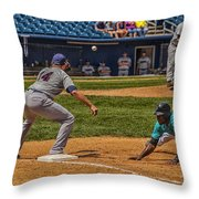 The Throw To First Throw Pillow by Karol Livote