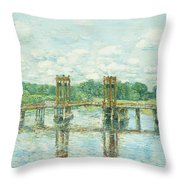 The Toll Bridge New Hampshire Throw Pillow by Childe Hassam