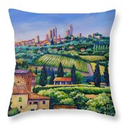 The Towers Of San Gimignano Throw Pillow by John Clark