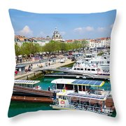 The Town And Port Of La Rochelle Throw Pillow by Nila Newsom