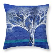 The Tree In Winter At Dusk - Painterly - Abstract - Fractal Art Throw Pillow by Andee Design