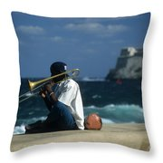 The Trombonist Throw Pillow by James Brunker