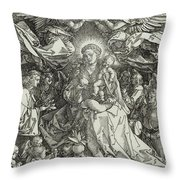 The Virgin And Child Surrounded By Angels Throw Pillow by Albrecht Durer or Duerer