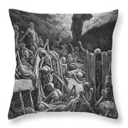 The Vision of the Valley of Dry Bones Throw Pillow by Gustave Dore