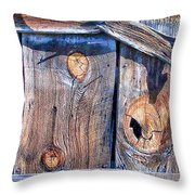 The Weathered Abstract From A Barn Door Throw Pillow by Bob and Nadine Johnston