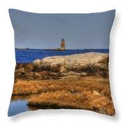 The Whaleback Lighthouse Throw Pillow by Joann Vitali