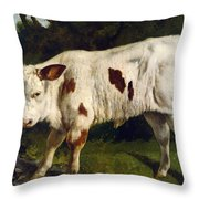 The White Calf Throw Pillow by Gustave  Courbet