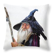 The Wizard And The Raven Throw Pillow by J W Baker
