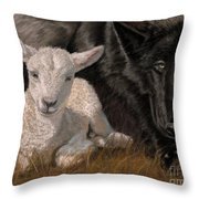 The Wolf And The Lamb Throw Pillow by Sheri Gordon