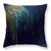 The World Is Melting Throw Pillow by Liane Wright