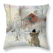 The Yard And Wash House Throw Pillow by Carl Larsson