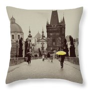 The Yellow Umbrella Throw Pillow by Ivy Ho