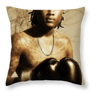 The Young Boxer Throw Pillow by Mountain Dreams