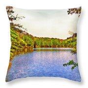 Thousand Trails Preserve Natchez Lake  Throw Pillow by Bob and Nadine Johnston