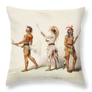 Three Indians Playing Lacrosse Throw Pillow by Unknown