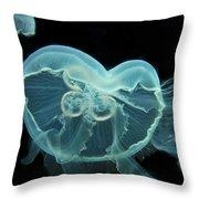 Three Jellyfish Throw Pillow by Wayne King