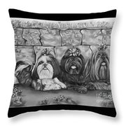 Three Little Shih Tzus Throw Pillow by Lena Auxier