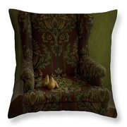 three pears sitting in a wing chair Throw Pillow by Priska Wettstein