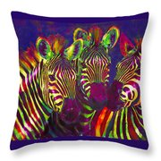 Three Rainbow Zebras Throw Pillow by Jane Schnetlage