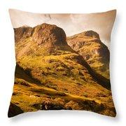 Three Sisters. Glencoe. Scotland Throw Pillow by Jenny Rainbow