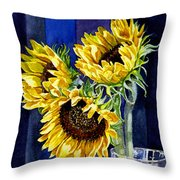Three Sunny Flowers Throw Pillow by Irina Sztukowski