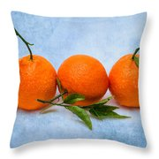 Three Tangerines Throw Pillow by Alexander Senin