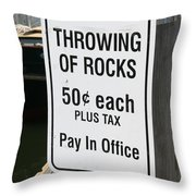 Throwing Rocks Throw Pillow by David Freuthal