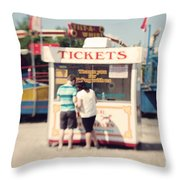 Ticket Booth Throw Pillow by K Hines