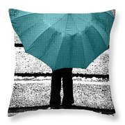 Tiffany Blue Umbrella Throw Pillow by Lisa Knechtel